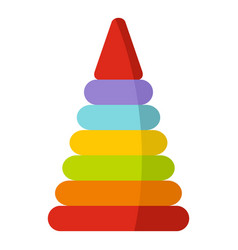 colorful toy pyramid icon isolated vector image vector image