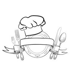 Cook hat plate fork knife catering outdoor label vector