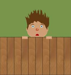 Crazy boy behind fence vector image vector image