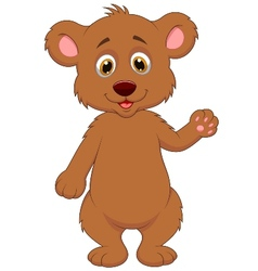 Cute baby bear cartoon waving hand vector image