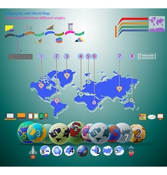 Elements infographic world map vector