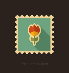Flower retro flat stamp with long shadow vector