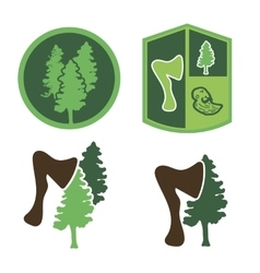 Green logo with wood an ax a forester vector