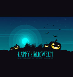 halloween background pumpkin on the hill vector image vector image
