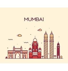 Mumbai City skyline line art vector image