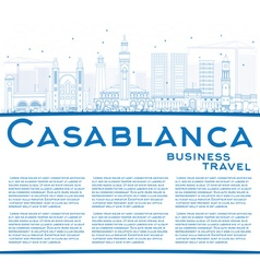 Outline casablanca skyline with blue buildings vector
