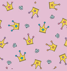 princess crowns and diamonds seamless pattern on vector image vector image