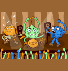 Rock concert music band of cartoon monsters vector