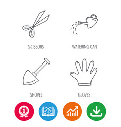 scissors shovel and gloves icons vector image vector image