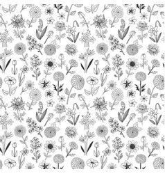 seamless pattern with doodle sketch flowers can vector image vector image