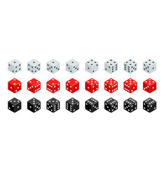 set of isometric dice combination red white and vector image vector image