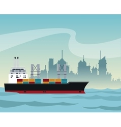 Ship cargo container maritime transport urban vector