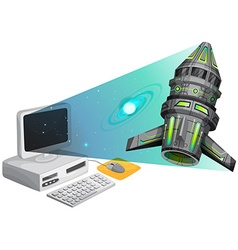Spaceship floating out of the computer screen vector image vector image