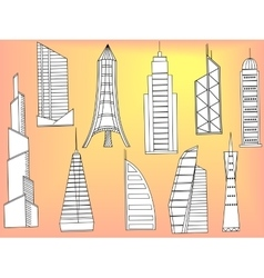 Tall buildings coloring book vector image