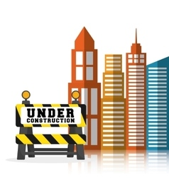 Under construction barrier road building vector