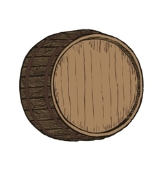 Wooden barrel top object vector