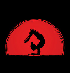 Yoga posing sport woman graphic vector