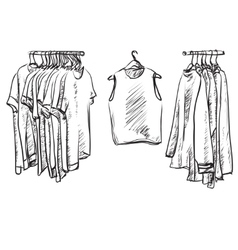 Clothes for autumn coat and jacket on the hangers vector