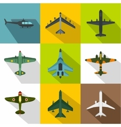 Military aircraft icons set flat style vector