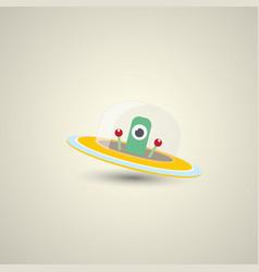 flat funny orange alien spaceship logo vector image