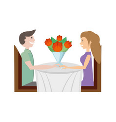 Couple sitting dating with flowers vector