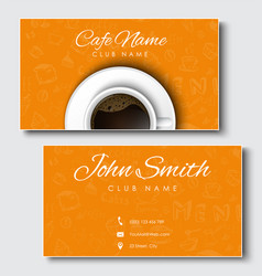 Templates of yellow cards for coffee shops and vector