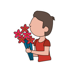 Drawing son kid flower gift vector