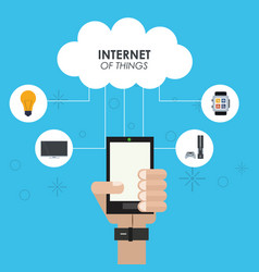 internet of things hand smartphone cloud computing vector image