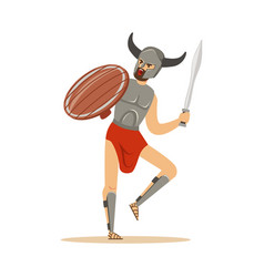 Warrior character man in horned helmet running vector