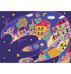 Greeting card with cat and night town vector image