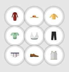 Flat icon garment set of banyan pants singlet vector