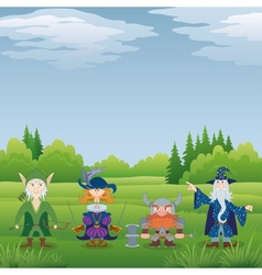 Fantasy heroes in forest vector image
