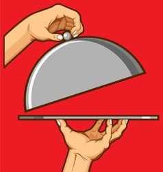 Hands opening tray of food vector