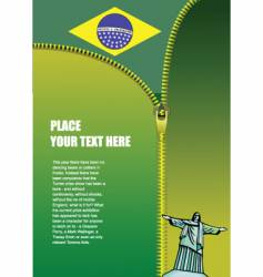 Zipper open brazil flag vector