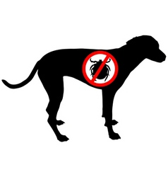 Dog prohibition sign for ticks vector