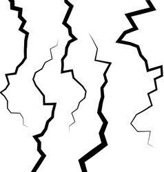 Set of five fractures or cracks for your design vector