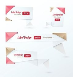 Origami label design love style vector