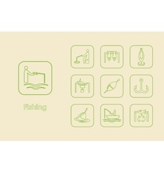 Set of fishing simple icons vector