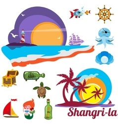 Set of images with marine issues shangri-la vector