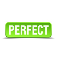 Perfect green 3d realistic square isolated button vector