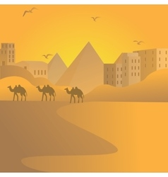 camel caravan travel in desert with pyramids of vector image