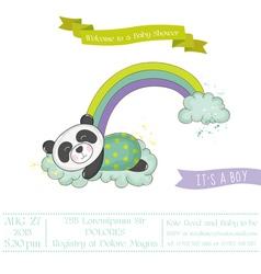 Baby shower card - baby panda on a rainbow vector
