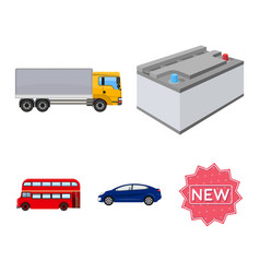 Battery and transport cartoon icons in set vector