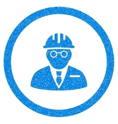 Blind engineer rounded icon rubber stamp vector