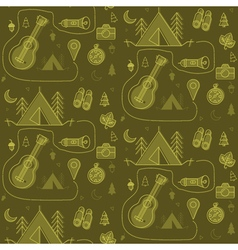 Camping Seamless Pattern in outline style vector image vector image