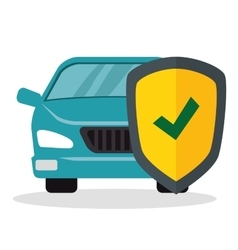 Car with shield insurance vector