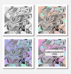 Cards design template with abstract marbling vector