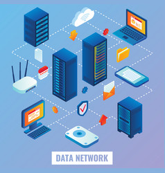 cloud network flat isometric vector image