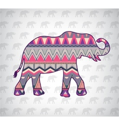Elephant silhouette with abstract pattern vector