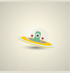 Flat funny orange alien spaceship logo vector